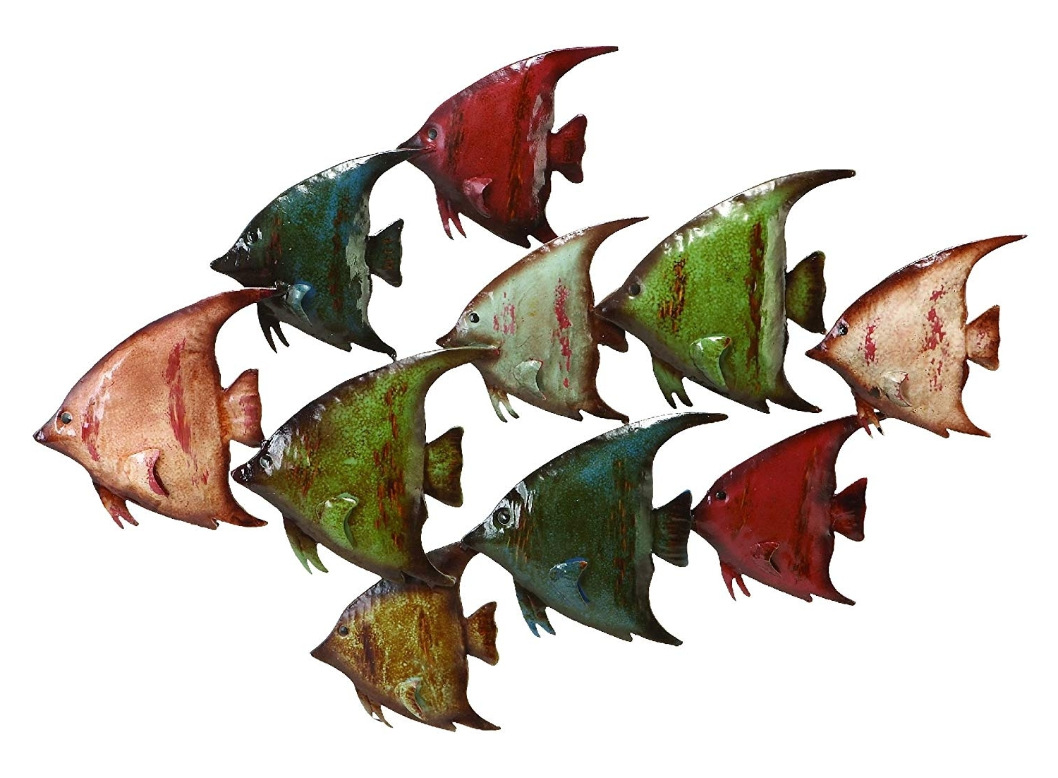 Outdoor Wall Art Decors Throughout Most Up To Date Amazon: Deco 79 63533 Metal Fish Wall Decor: Home & Kitchen (View 13 of 20)