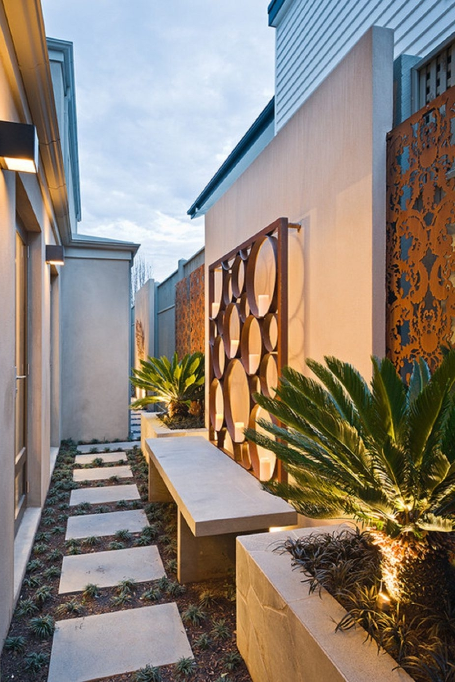 Outdoor Wall Art Within Well Known Wall: Outdoor Wall Art Idea For Entrance Furnished With Bench And (View 14 of 15)