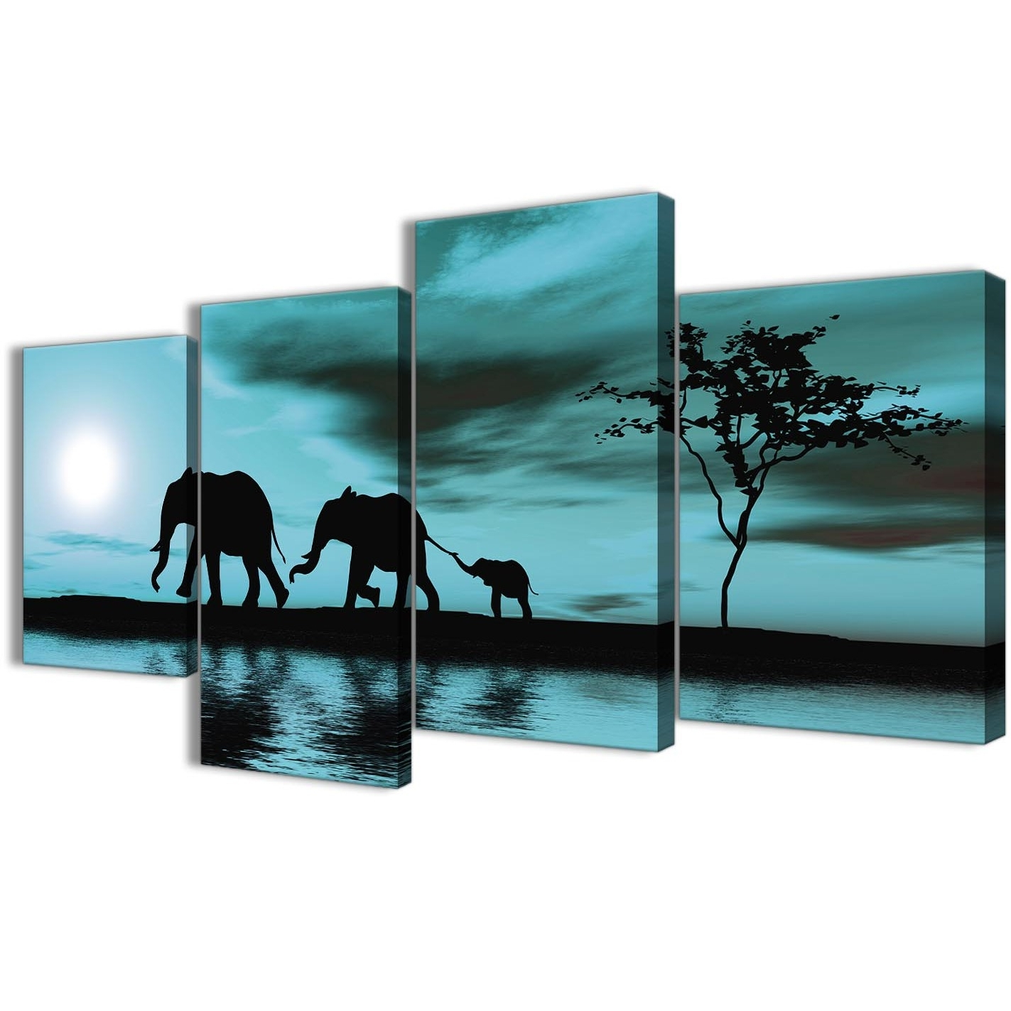 Oversized Teal Canvas Wall Art In Popular Large Teal African Sunset Elephants Canvas Wall Art Print – Multi  (View 9 of 20)