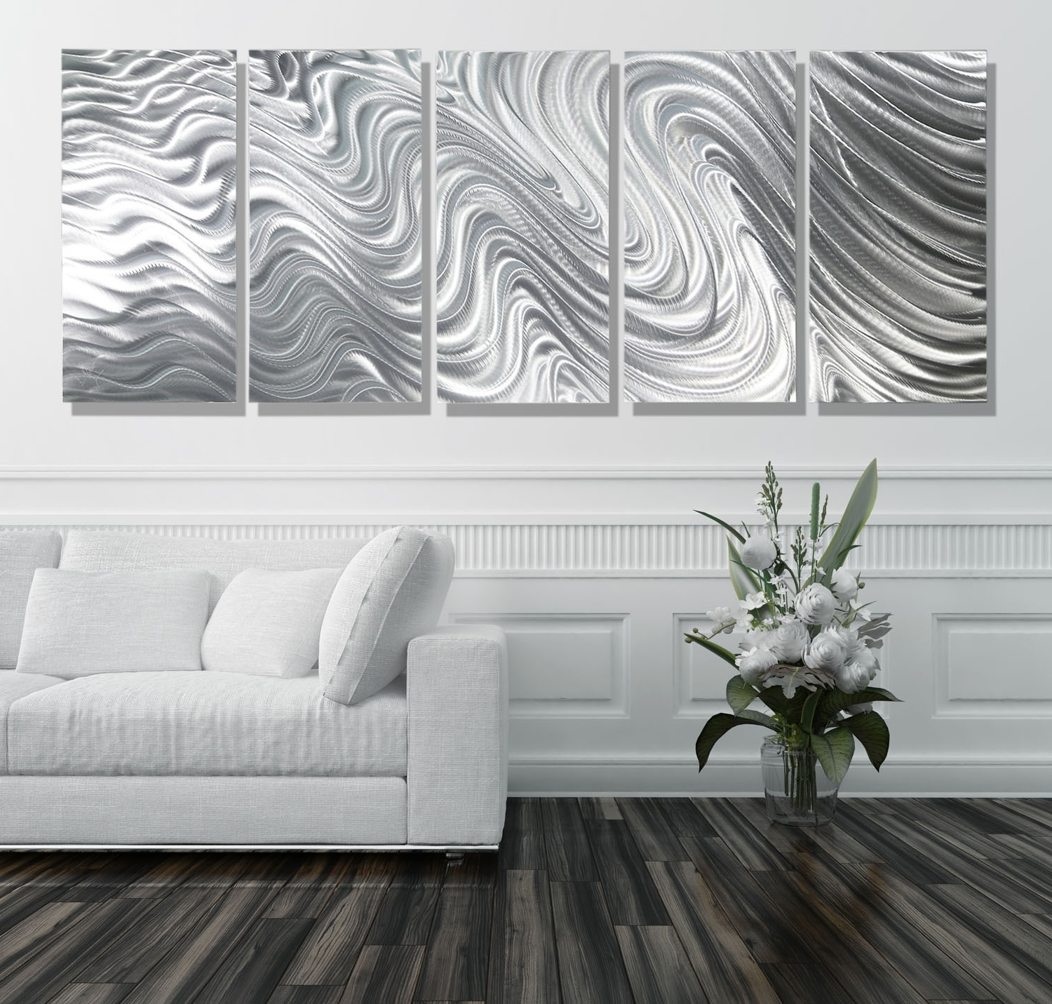 Overstock Wall Art Pertaining To 2017 Hypnotic Sands 5P Xl – Extra Large 5 Panel Silver Modern (View 14 of 20)