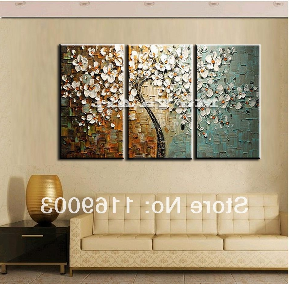 Panel Wall Art Regarding Most Popular 3 Panel Wall Art Canvas Tree Acrylic Decorative Pictures Hand (Gallery 8 of 20)