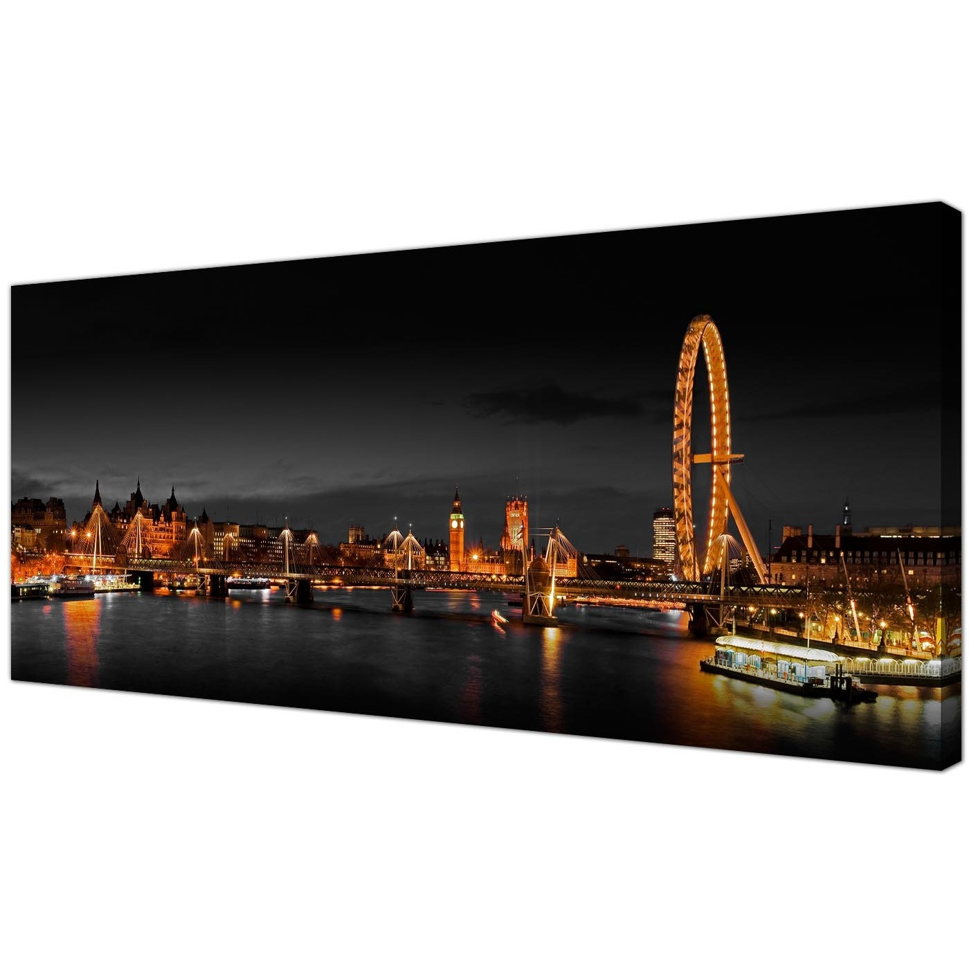 Panoramic Canvas Wall Art Of London Eye At Night For Your Living Room In Trendy Cheap Canvas Wall Art (View 11 of 15)