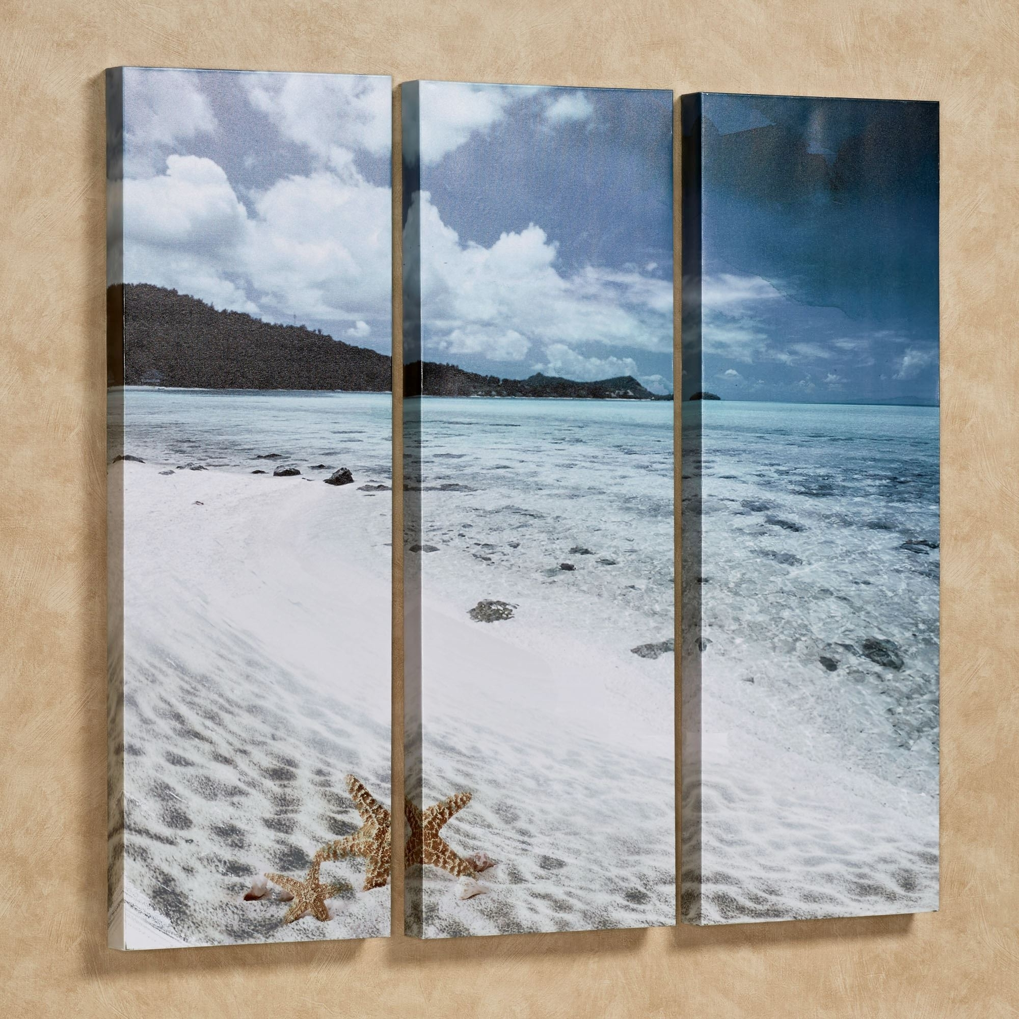Paradise Beach Triptych Canvas Wall Art Set Within Recent Triptych Wall Art (View 7 of 20)