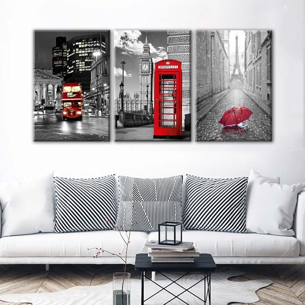 Paris Wall Art Throughout Latest Modern Wall Art Framework Canvas Pictures 3 Pieces Paris Black White (View 2 of 15)