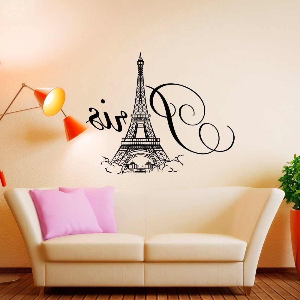 Paris Wall Decal Vinyl Lettering Paris Bedroom Decor Paris, French Within Most Up To Date Paris Wall Art (View 15 of 15)
