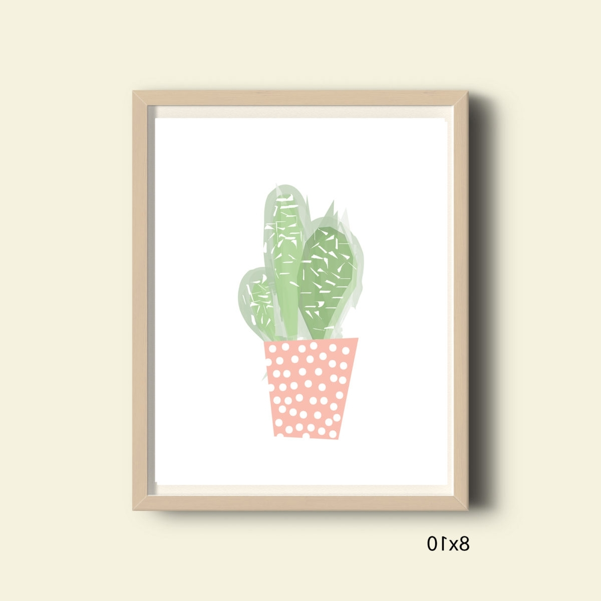 Pastel Pink And Green Cactus, Printable Tropical Wall Art Print Inside Popular Cactus Wall Art (View 14 of 20)