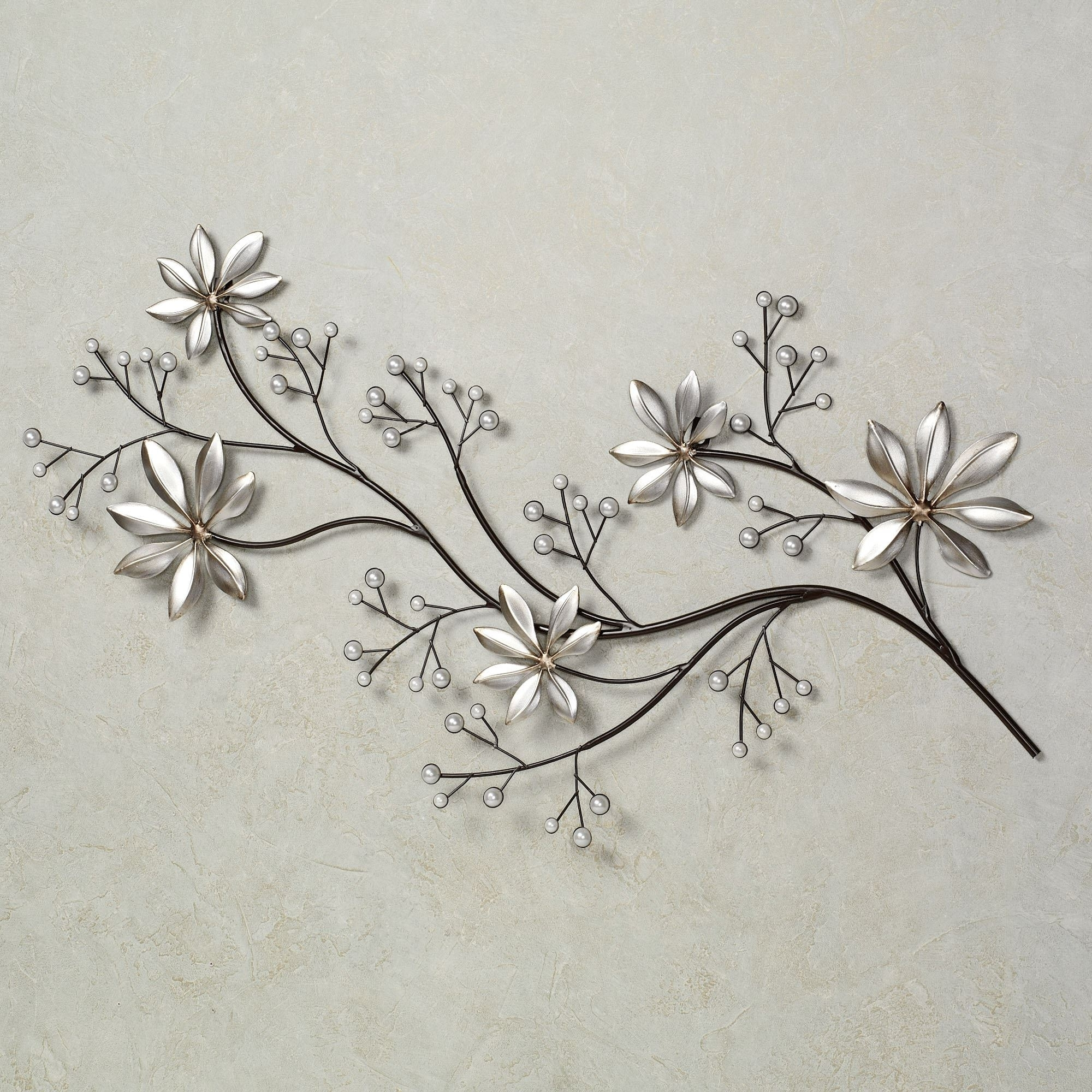 Pearl Array Floral Metal Wall Art With Regard To Current Floral Wall Art (View 14 of 20)