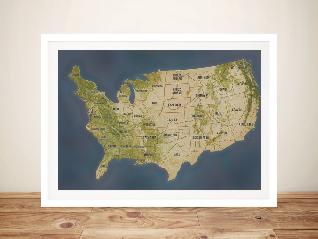 Personalised Charcoal Usa Push Pin Travel Map Framed Wall Art Print Au Within Well Known Usa Map Wall Art (Gallery 17 of 20)