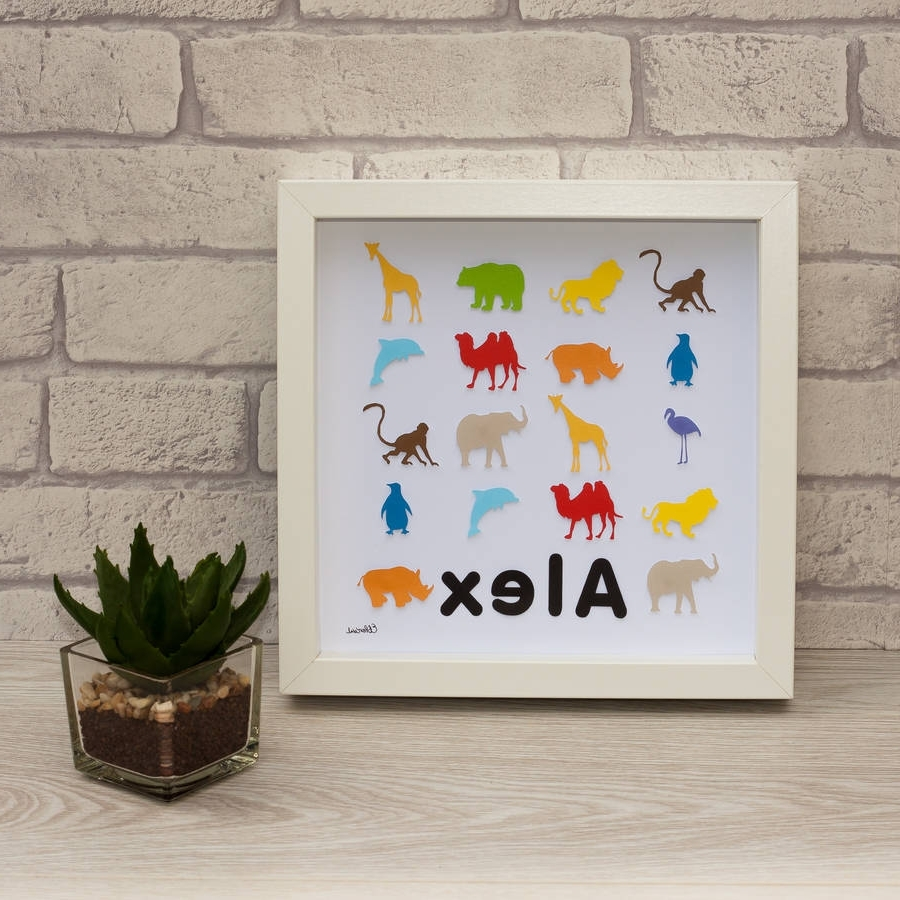 Personalised Framed 3D Zoo Animal Paper Wall Artframeserika Intended For Most Up To Date Paper Wall Art (View 18 of 20)