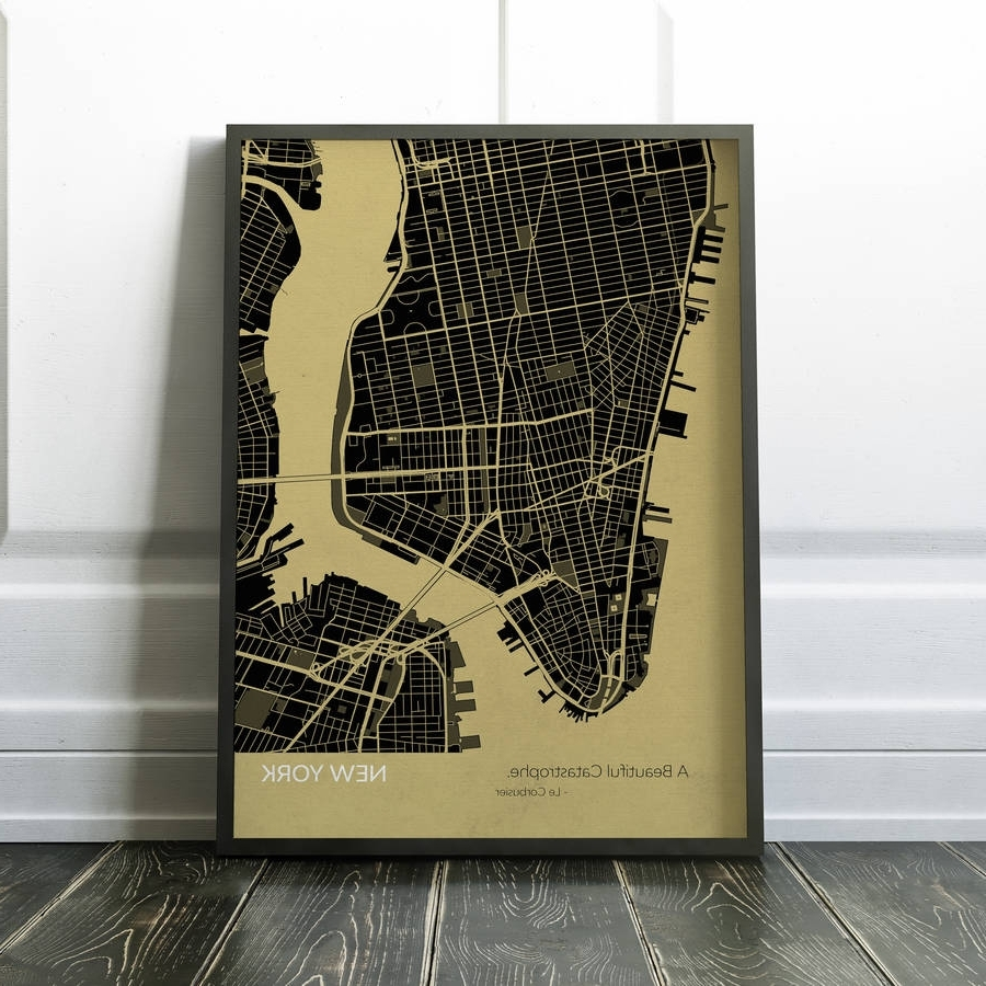 Personalised New York City Street Map Printmaps International Throughout Well Known New York City Map Wall Art (View 16 of 20)