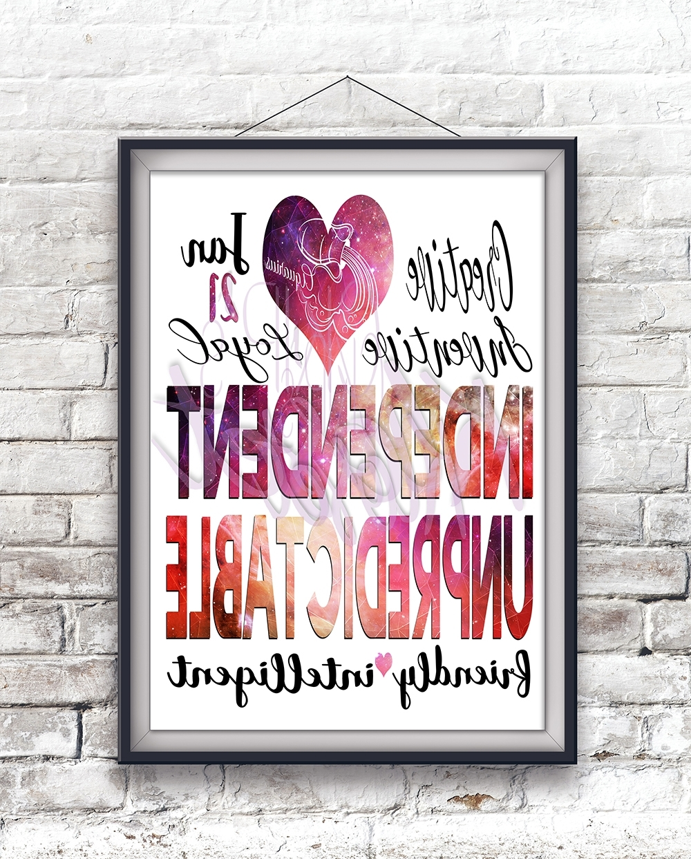 "Personalized Birth Date ""Aquarius Personality Character Traits Intended For Newest Personalized Wall Art (View 7 of 15)"