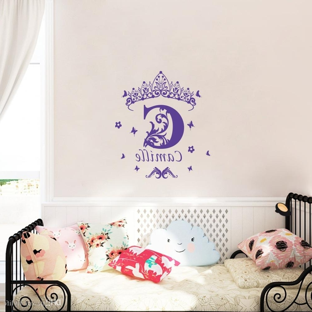 Personalized Wall Art Pertaining To 2018 Custom Girls Name Vinyl Wall Sticker Crown Wall Art Decal (View 10 of 15)