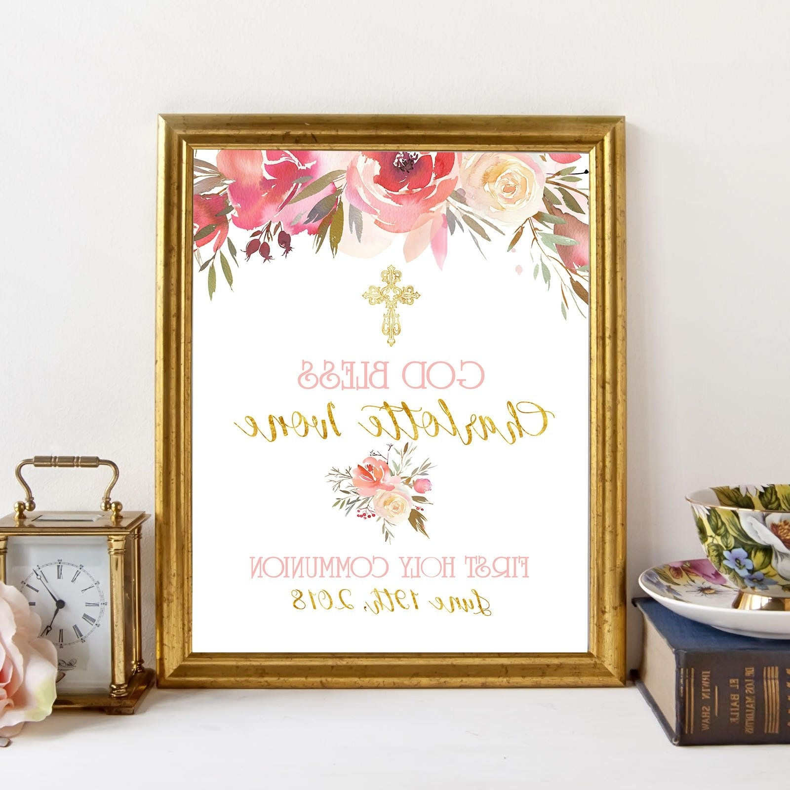 Personalized Wall Art With Latest Personalized Wall Art Calligraphy For A First Holy Communion,first (View 11 of 15)
