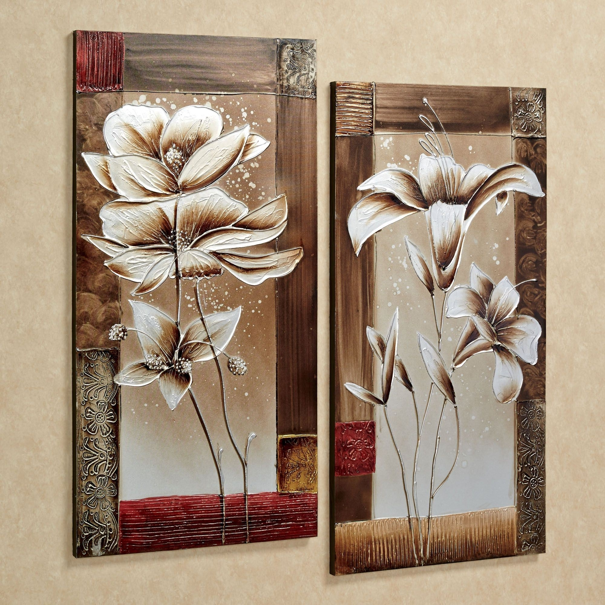 Petals Of Spring Floral Canvas Wall Art Set Intended For Most Popular Canvas Wall Art (View 12 of 15)