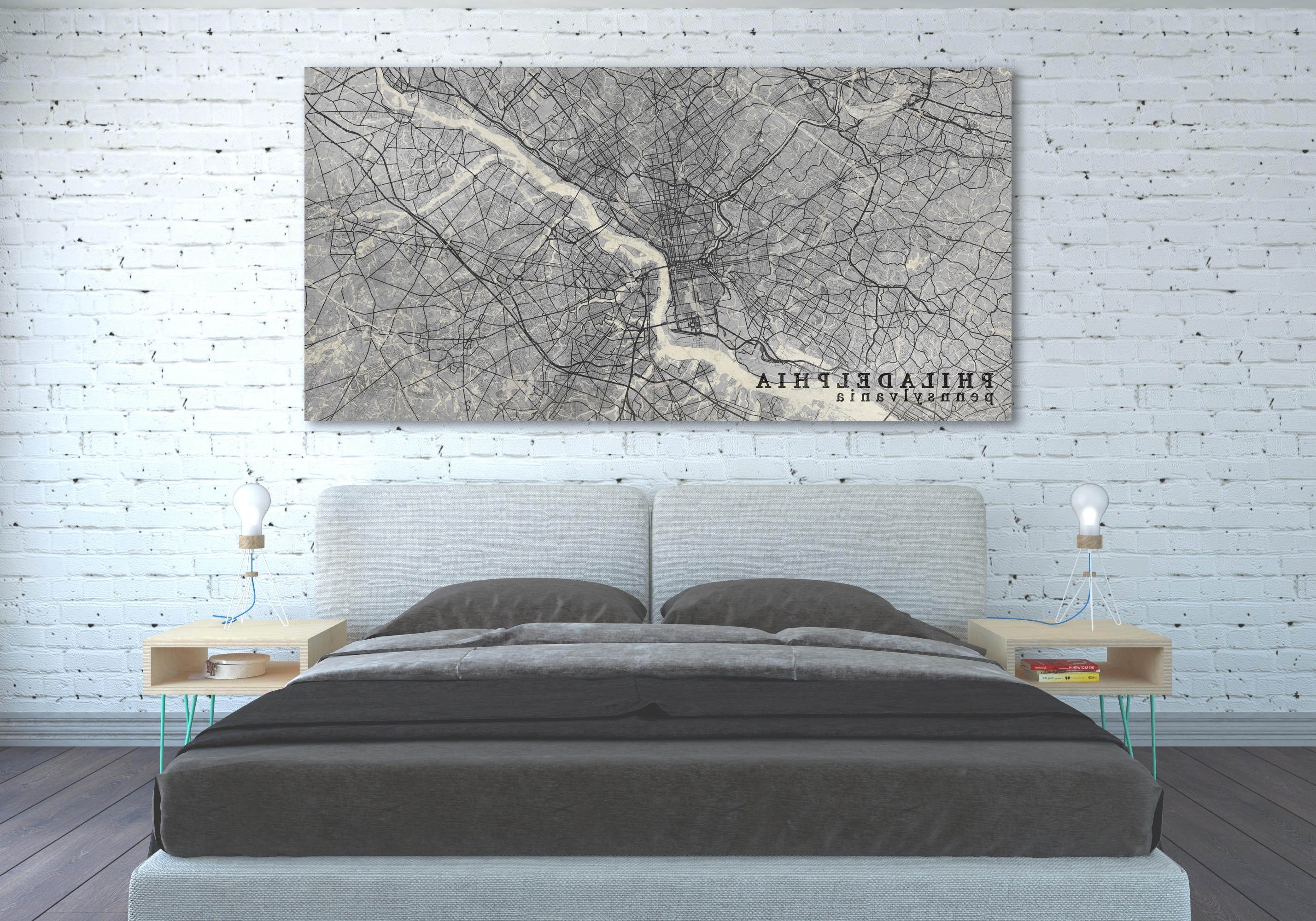 Philadelphia Map Wall Art Regarding Well Known Philadelphia Pa Canvas Print Pennsylvania Pa Vintage Map Black White (View 15 of 20)