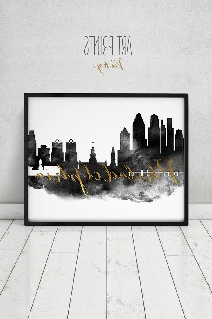 Philadelphia Poster Skyline Philadelphia Watercolor Print, Black And In Current Philadelphia Map Wall Art (Gallery 17 of 20)