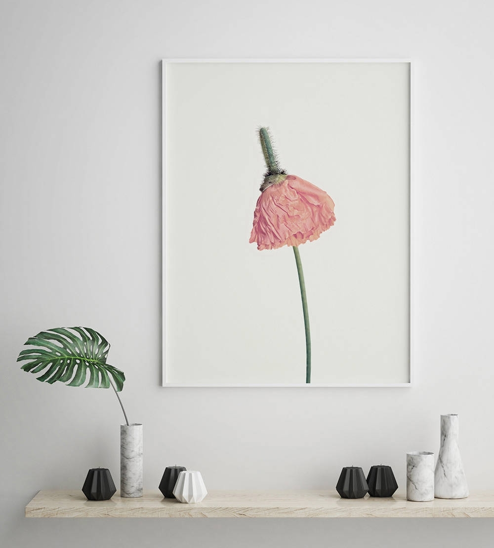 Pink Flower Print, Flower Wall Art, Scandinavian Print, Minimalist For Well Liked Flower Wall Art (Gallery 11 of 20)