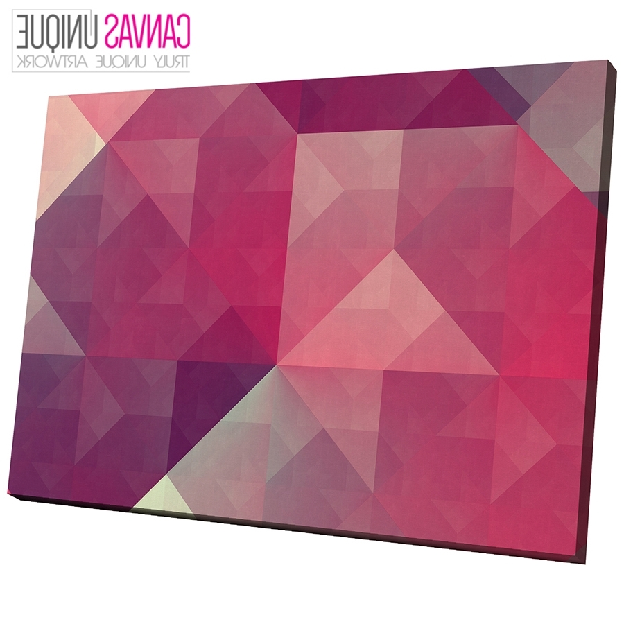 Pink Wall Art Intended For Most Up To Date Ab300 Pink Grey Geometric Shapes Abstract Canvas Wall Art Framed (View 15 of 20)