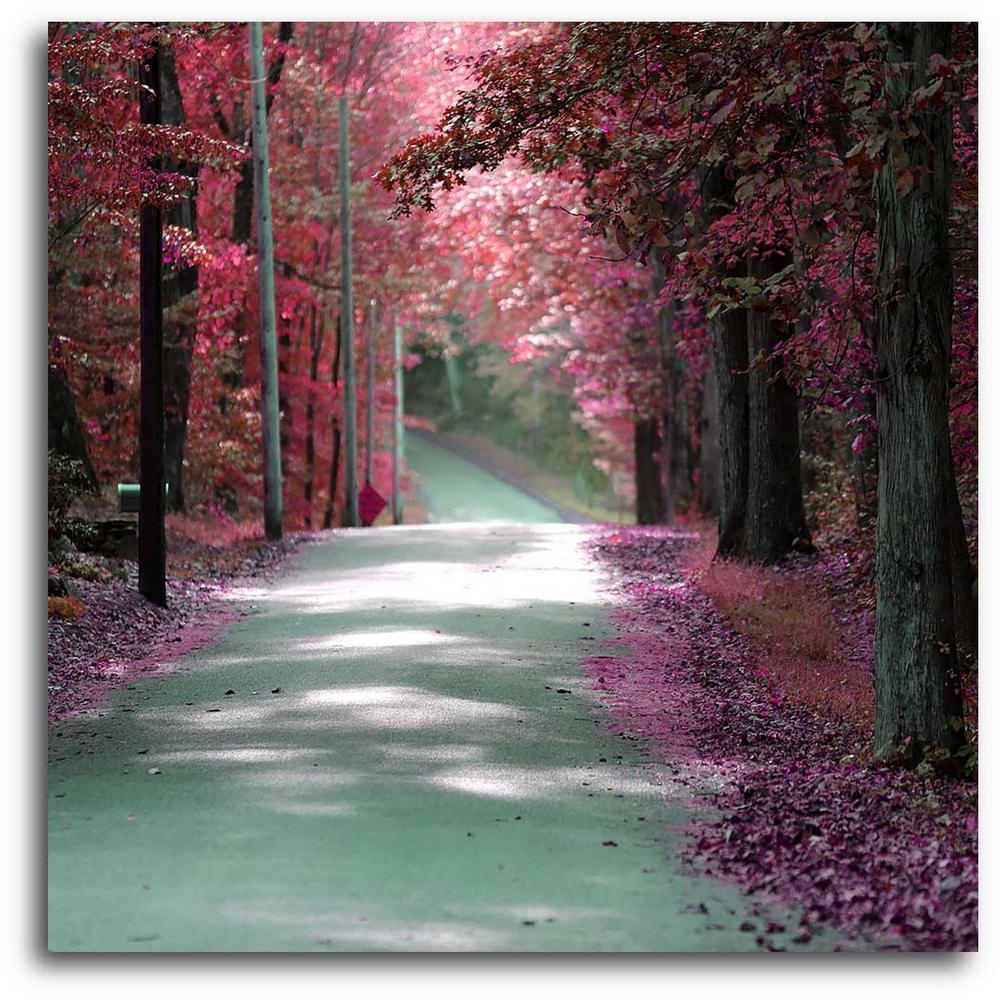 """Pink Wall Art Throughout Well Known 16 In. X 20 In. """"majestic Pink Road"""" Canvas Wall Art Web Po112 – The (Gallery 12 of 20)"""
