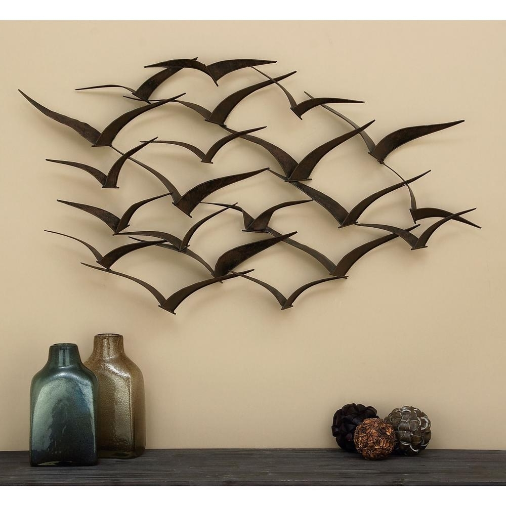 "Popular 47"" Metal Wall Sculpture Flock Of Birds Hanging Art Home Decor With Regard To Metal Wall Art Sculptures (View 12 of 15)"