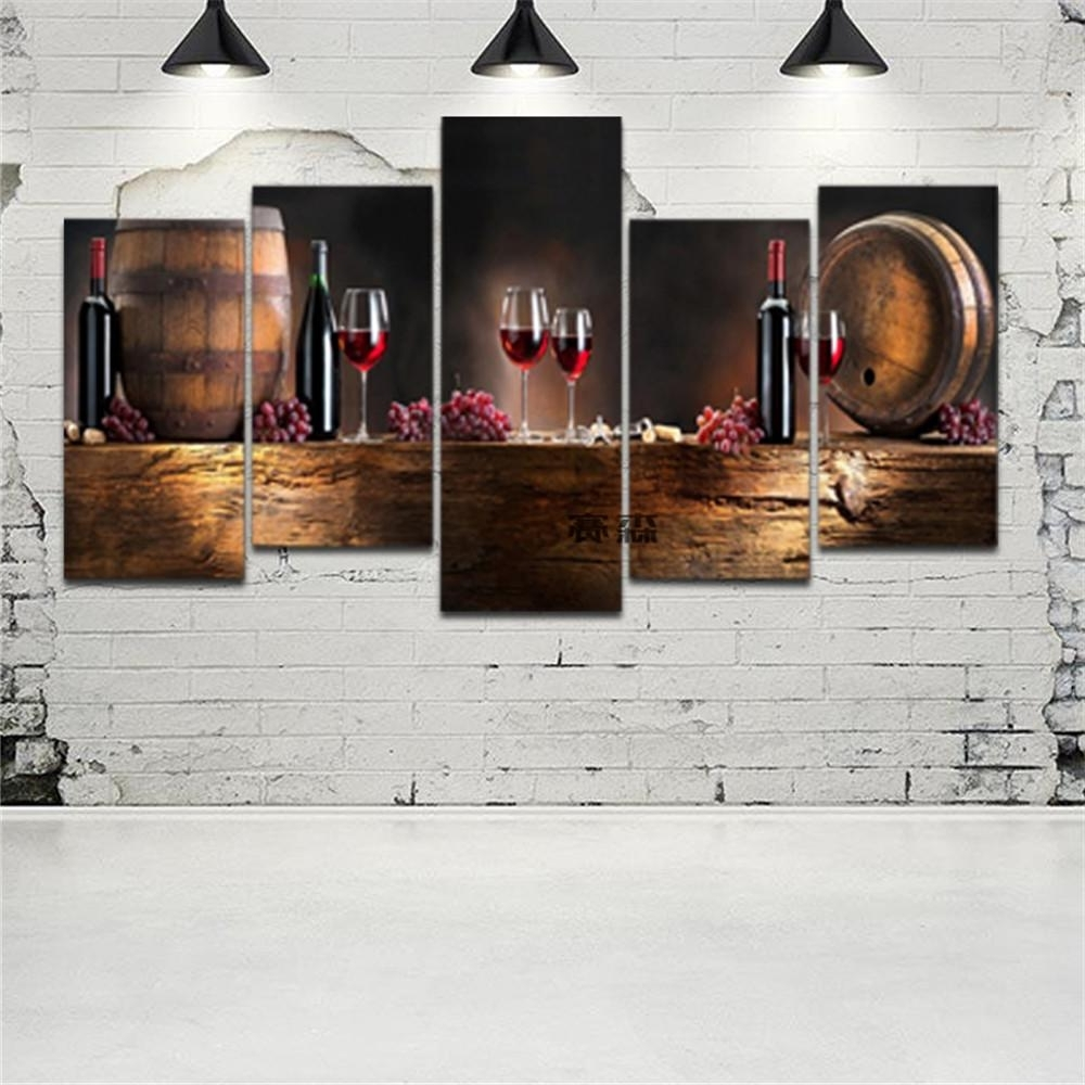 Popular 5 Piece Canvas Wall Art Within 2018 Hd Printed Canvas Art Grape Red Wine Glasses Oak Barrels (View 19 of 20)
