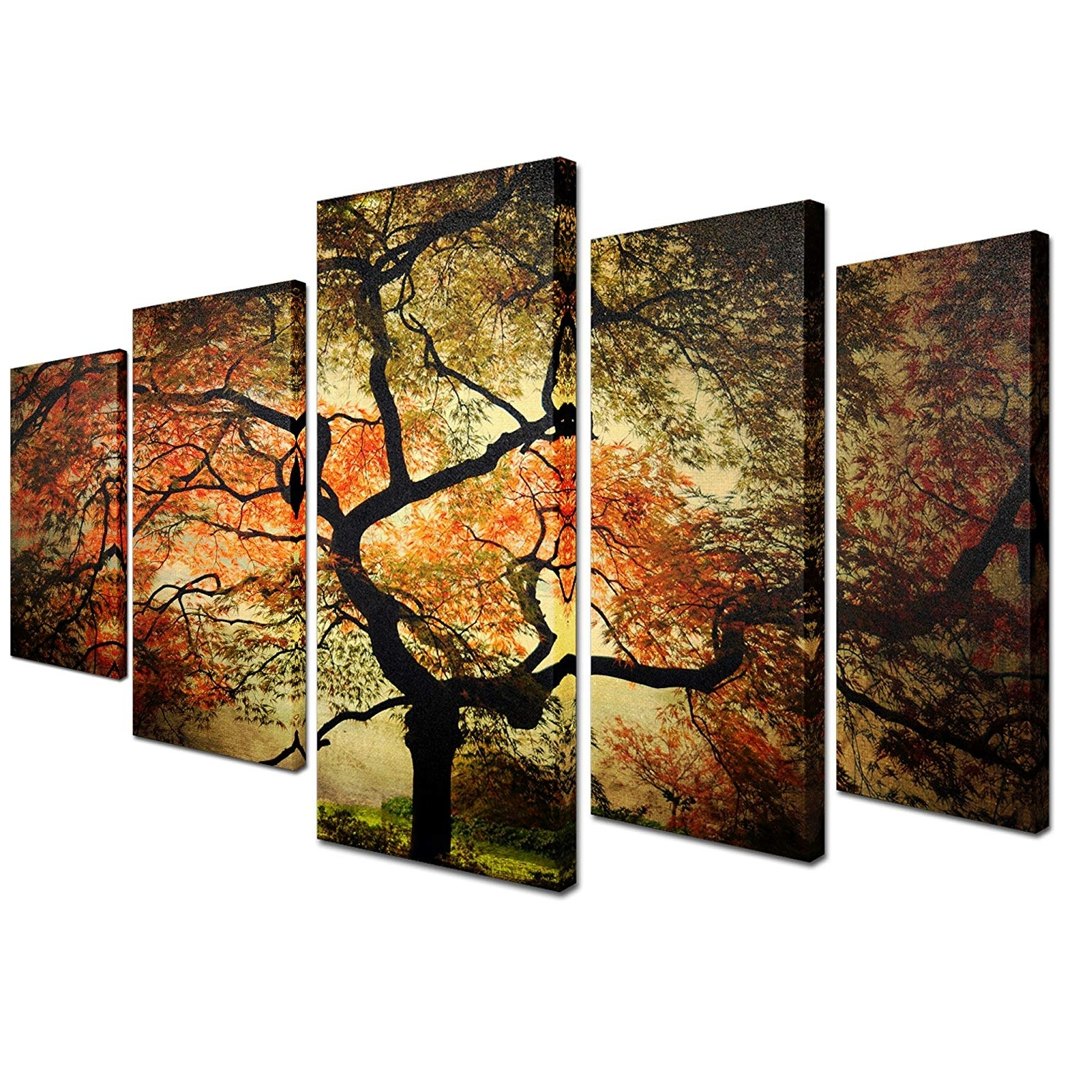 "Popular 5 Piece Wall Art Canvas With Regard To Amazon: Trademark Fine Art ""japanese Multi Panel Art Set (View 8 of 15)"