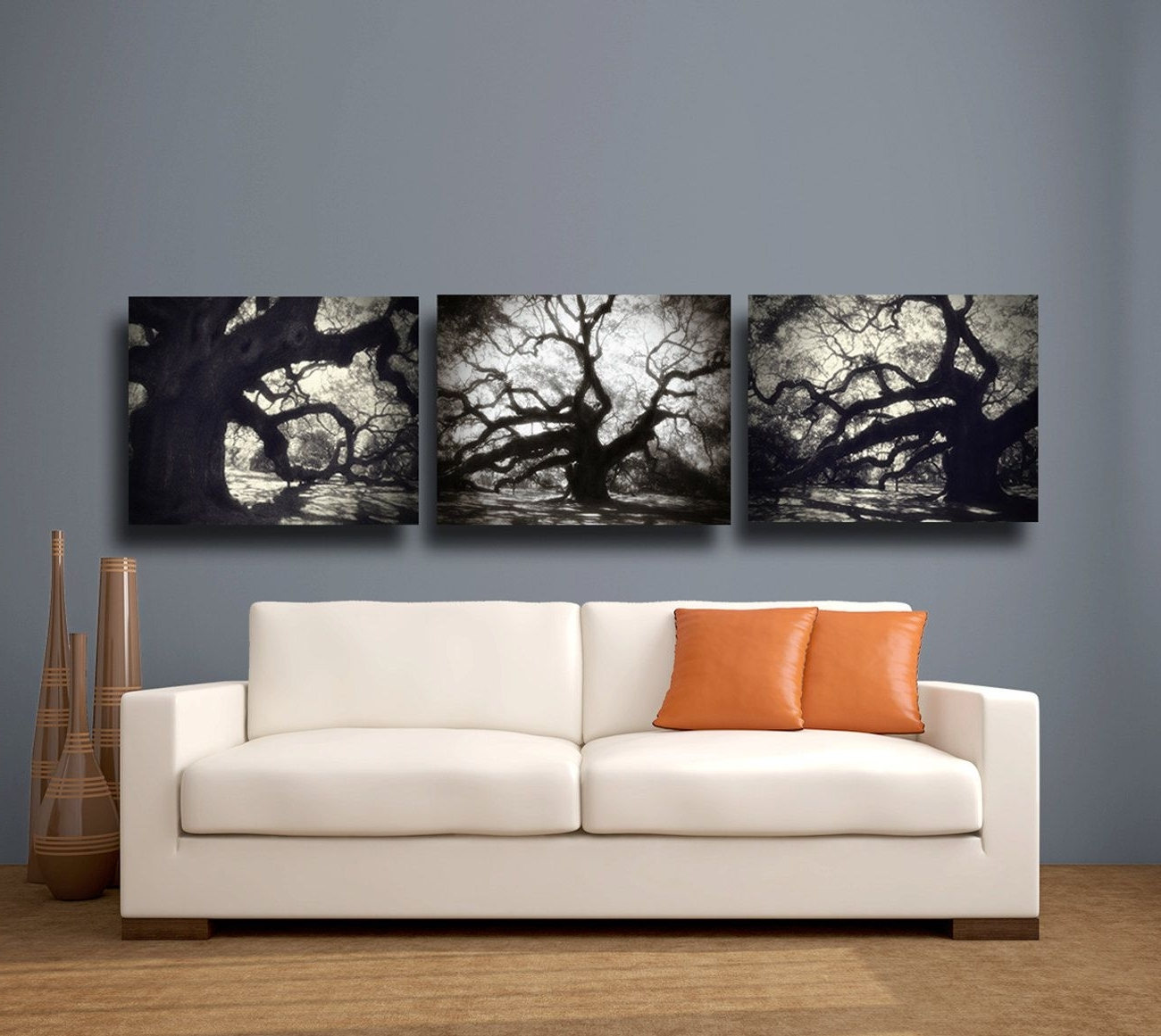 Popular Angel Oak Tree Photography, Fine Art Canvas Wrap Set Of Three 3 For Black And White Large Canvas Wall Art (View 18 of 20)