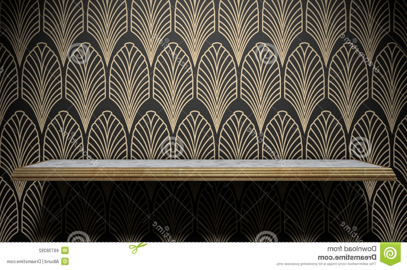 Popular Art Deco Wall Art Regarding Empty Art Deco Shelf On Wall Stock Illustration – Illustration Of (View 8 of 20)