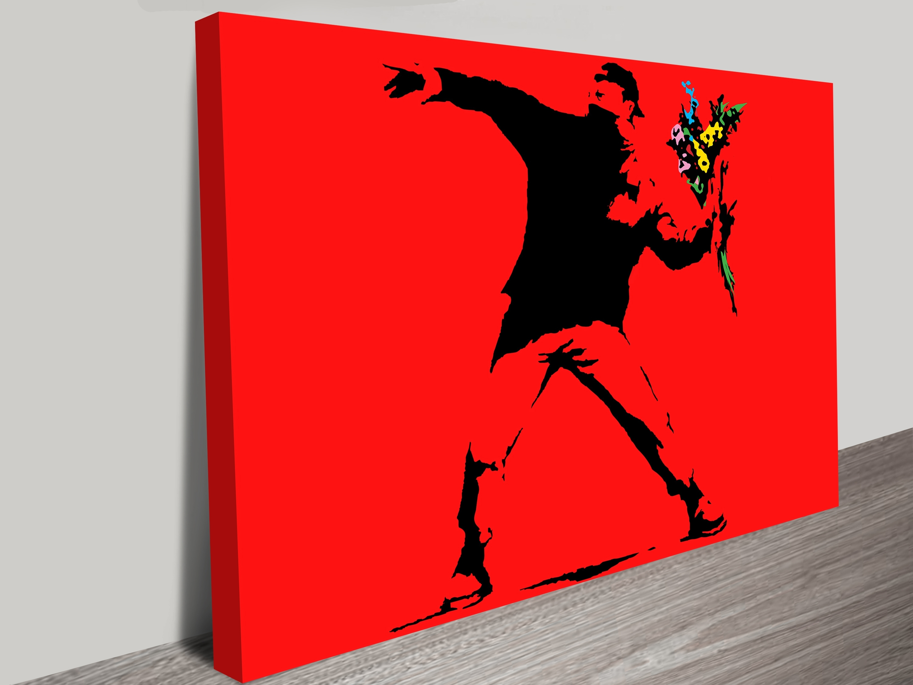 Popular Banksy Flower Thrower Red Wall Art Print Inside Red Wall Art (Gallery 3 of 15)