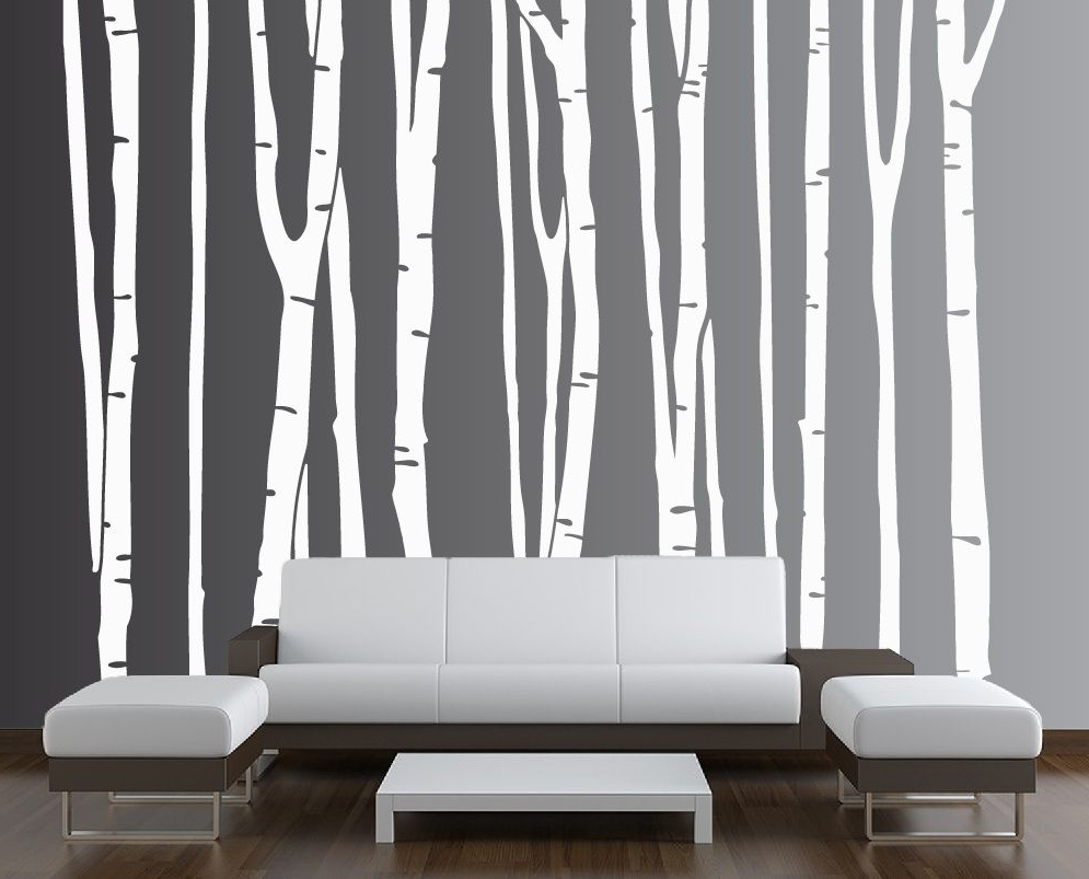 Popular Birch Tree Vinyl Decal Forest # (View 2 of 20)