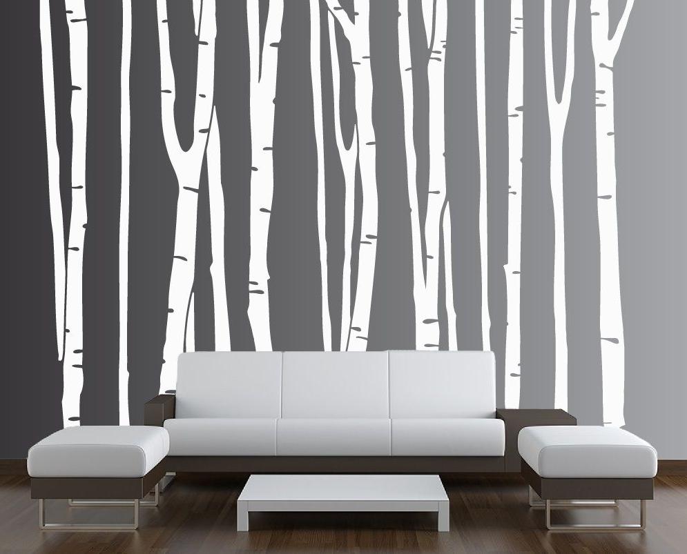 Popular Birch Tree Vinyl Decal Forest # (View 19 of 20)
