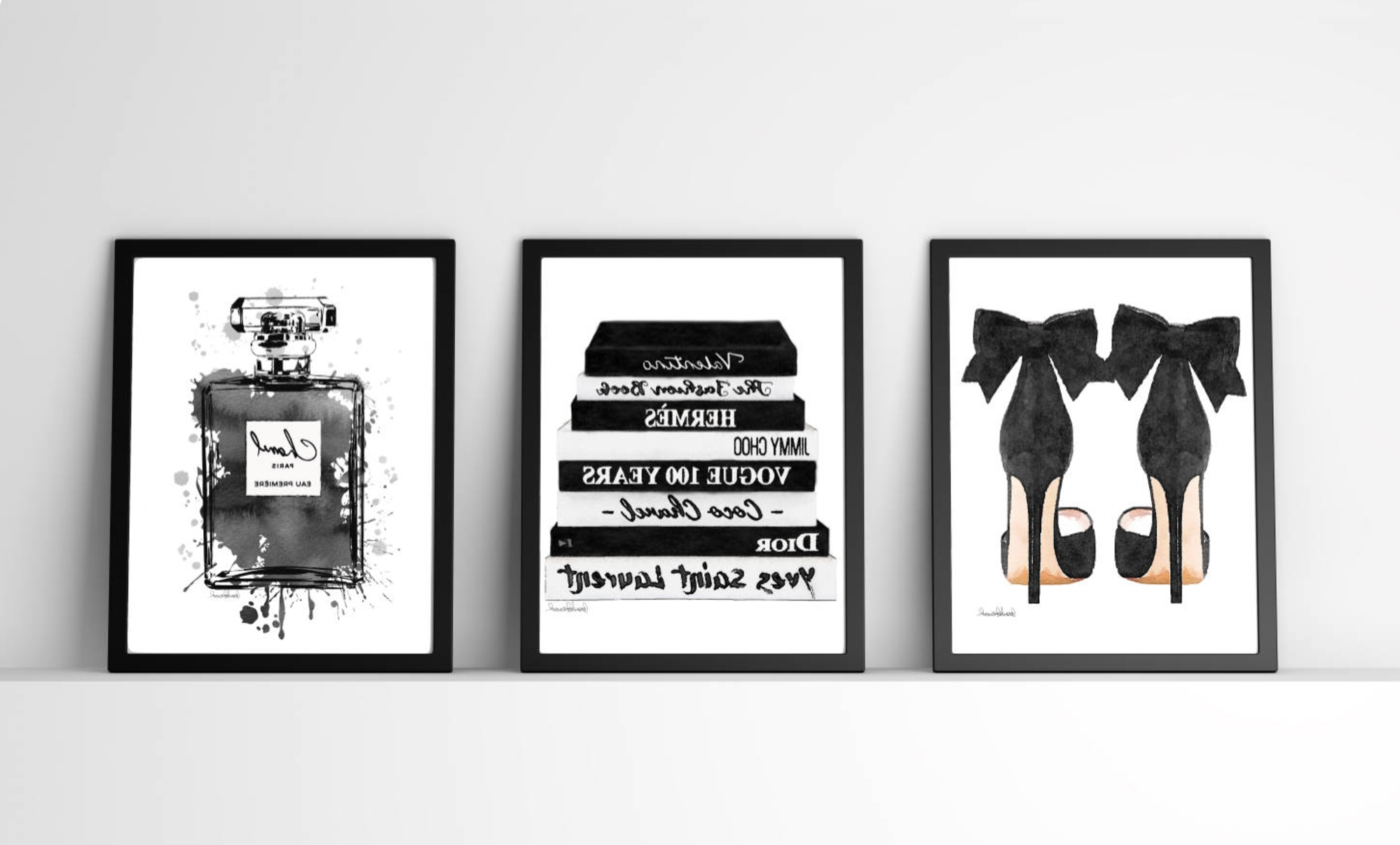 Popular Black And White, Fashion Wall Art, Fashion Watercoloramanda With Regard To Fashion Wall Art (View 17 of 20)