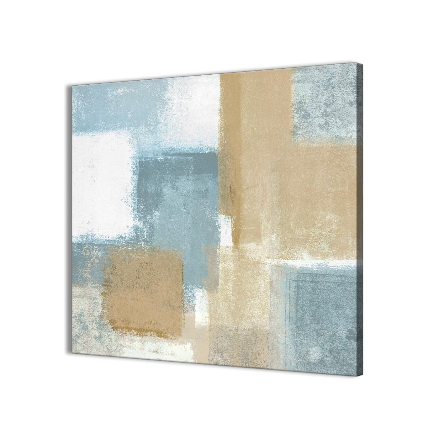 Popular Blue Beige Brown Abstract Painting Canvas Wall Art Print – Modern Throughout Modern Abstract Painting Wall Art (Gallery 12 of 20)