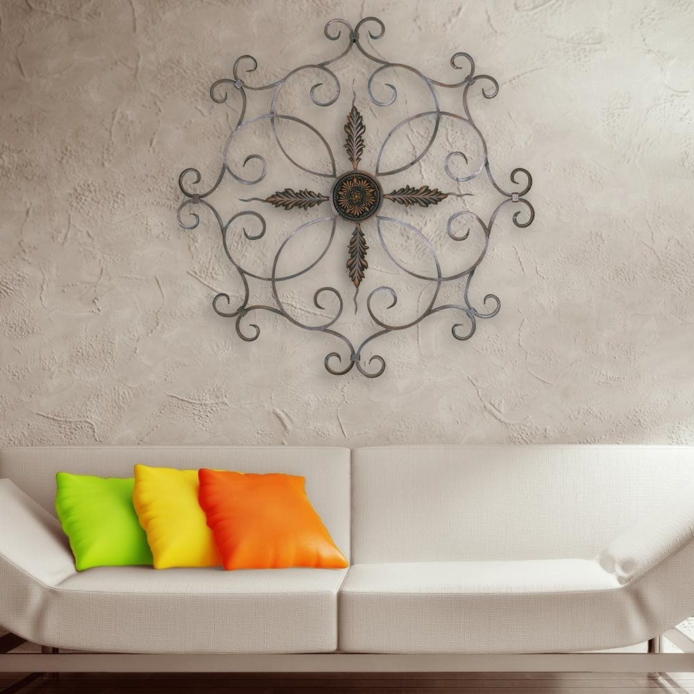 Popular Ceiling Medallion Wall Art For Burnt Copper Scrolled Iron Medallion Metal Work Wall Decor 2180 (Gallery 10 of 15)