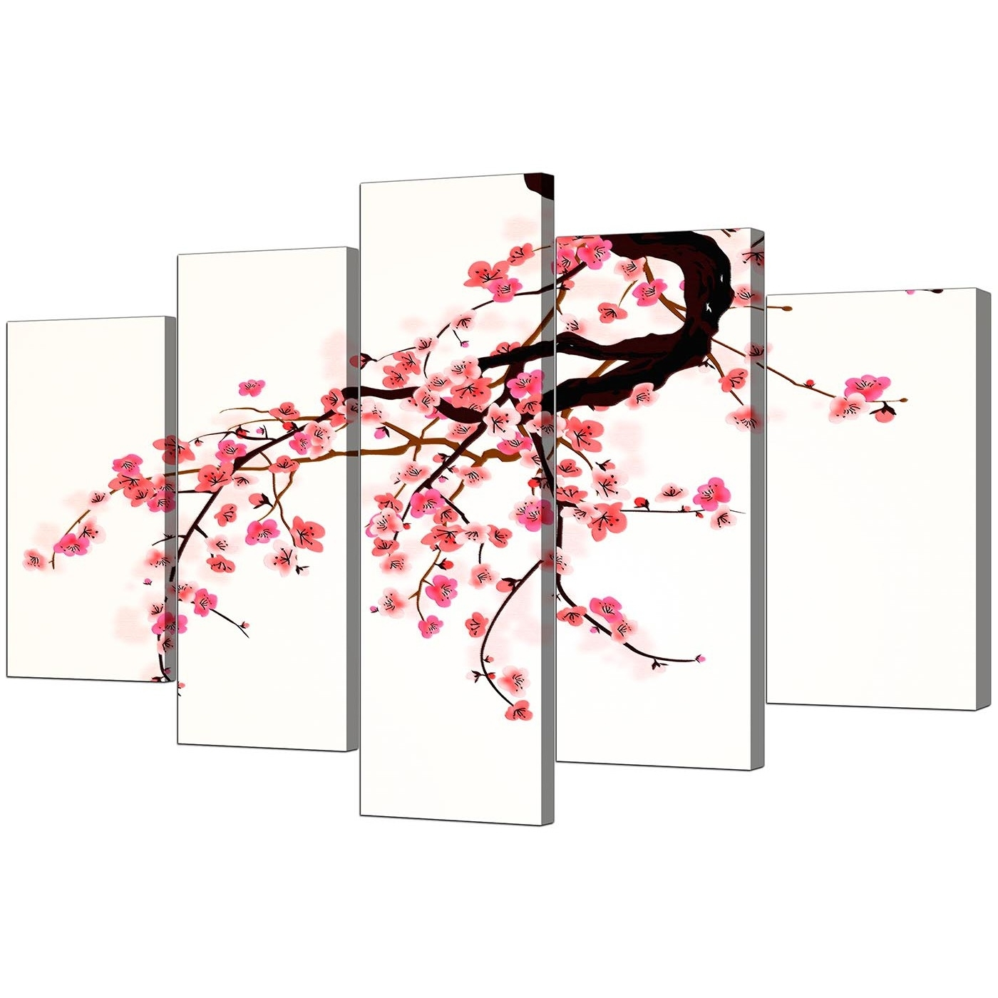Popular Cherry Blossom Wall Art For Extra Large Flowers Canvas Wall Art Set Of 5 In Pink (View 13 of 20)