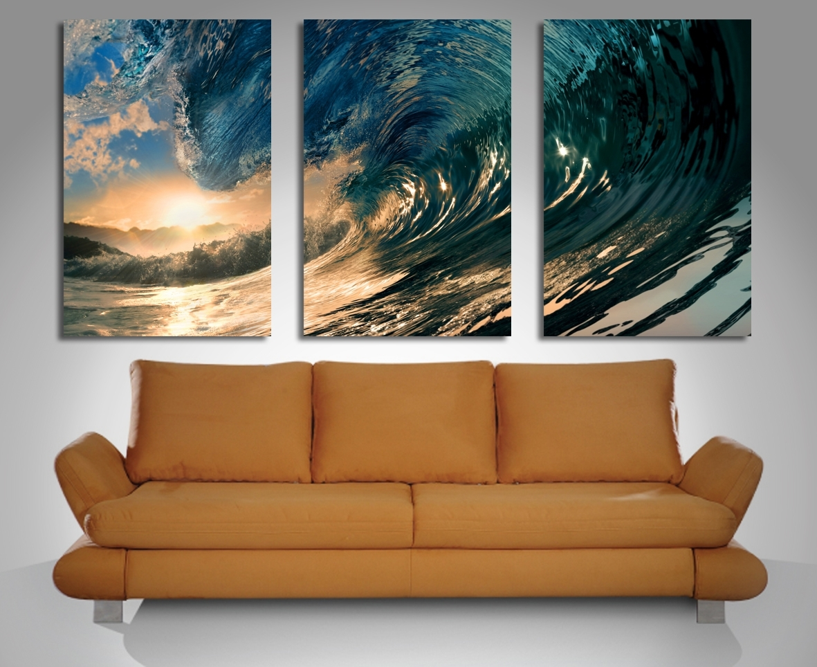 Popular Crystal Wave Triptych 3 Panel Wall Art Regarding Panel Wall Art (View 11 of 20)