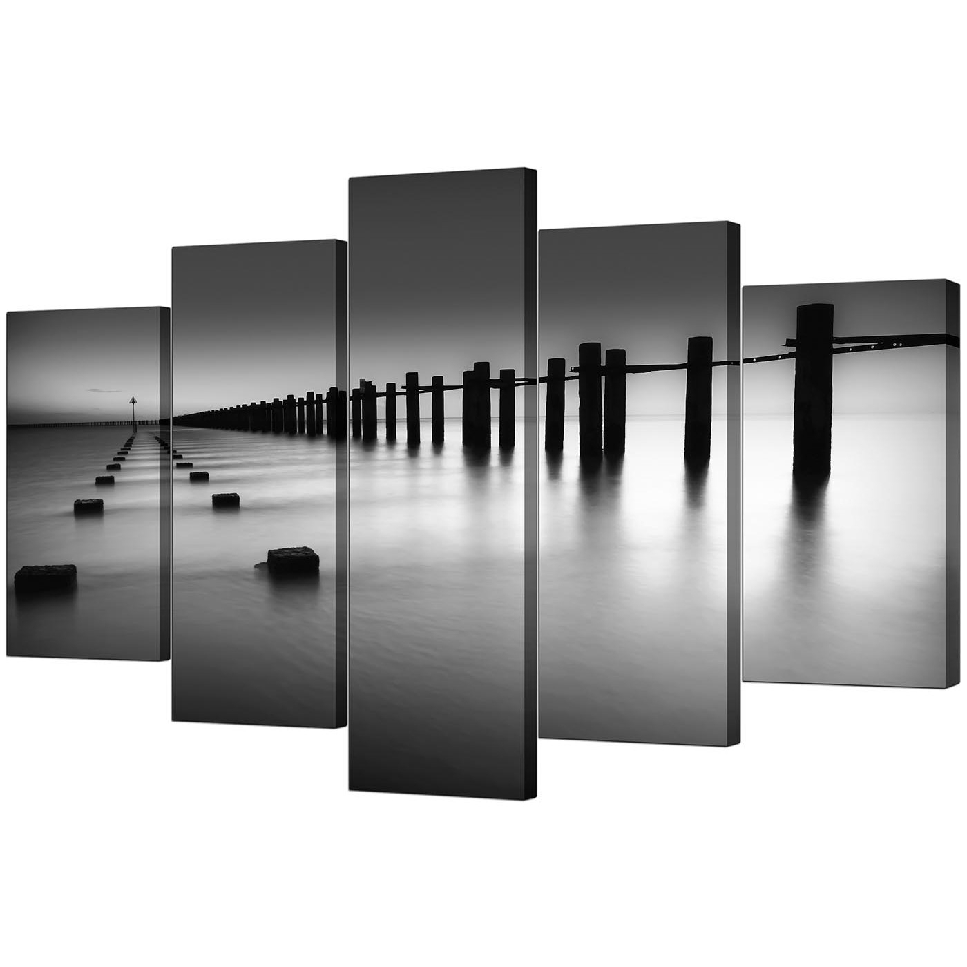 Popular Extra Large Sea Canvas Prints 5 Piece In Black & White With Black And White Large Canvas Wall Art (View 19 of 20)