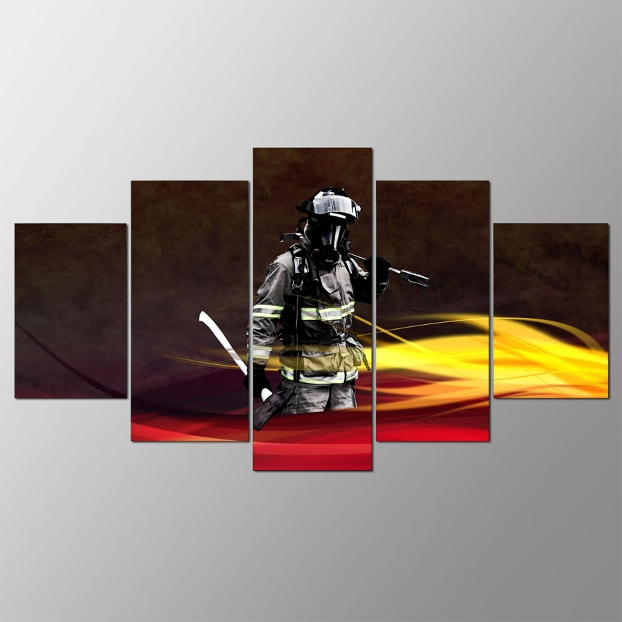 Popular Firefighter Wall Art Pertaining To Canvas Painting Home Decorative Modular Hd Print 5 Panel Firefighter (View 15 of 20)