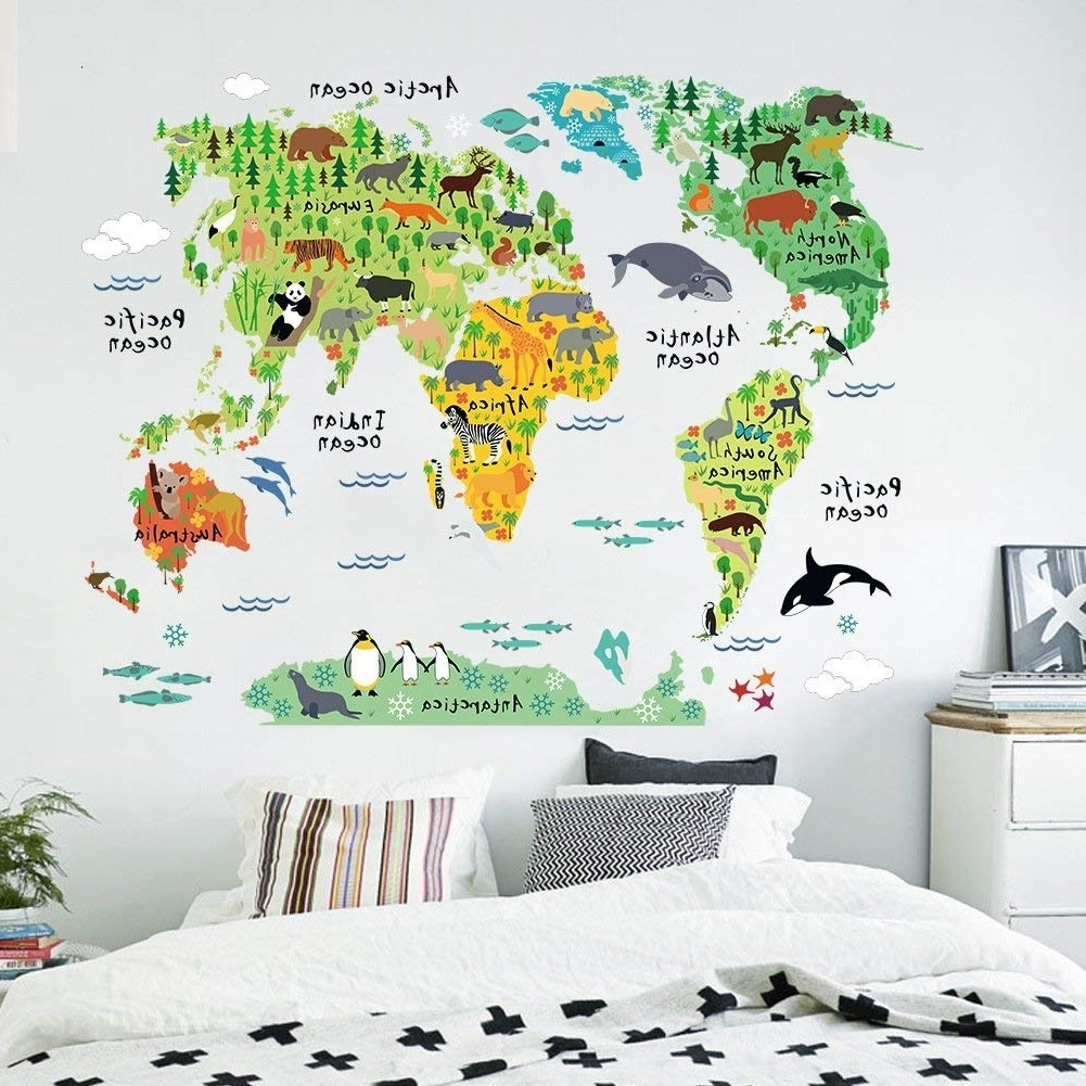 Popular Kids Educational English Words Animal World Map Wall Decals Stickers Throughout World Map Wall Art For Kids (Gallery 2 of 20)