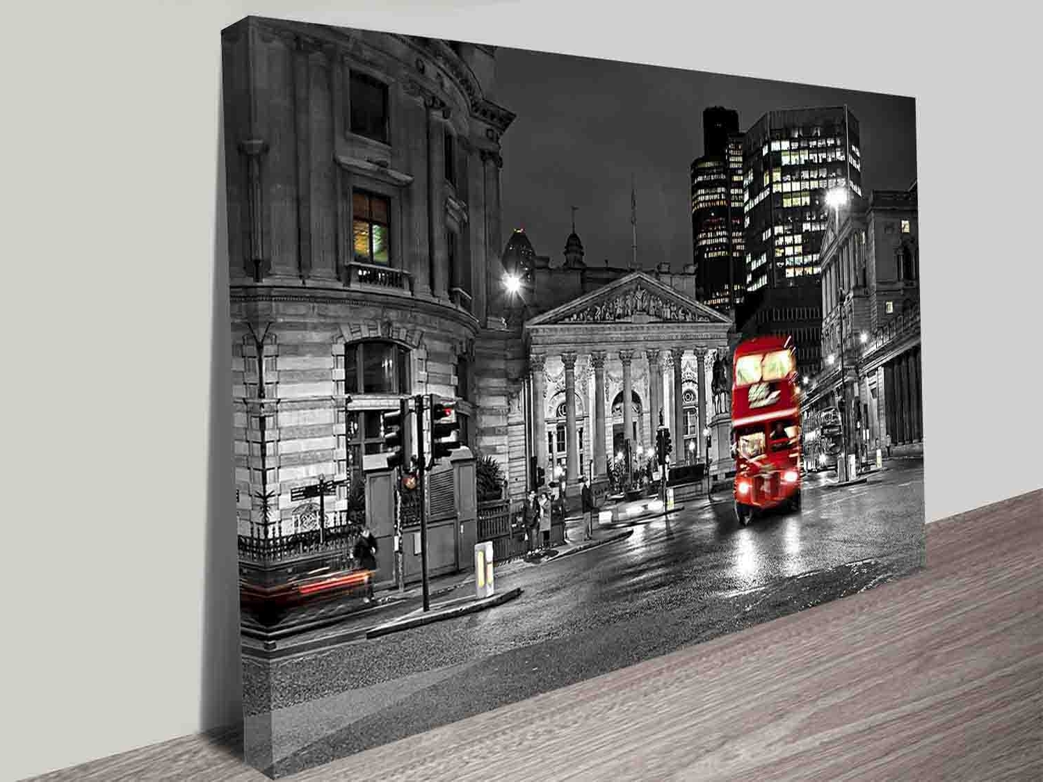 Popular London Red Double Decker Bus Black And White City Scene Wall Art With Regard To London Wall Art (Gallery 19 of 20)