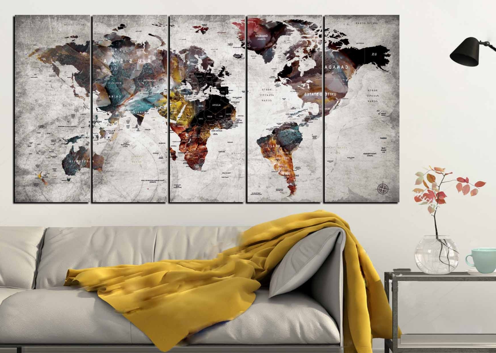 Popular Map Of The World Wall Art Throughout World Map Wall Art,world Map Canvas Art,large World Map,world Map  (View 13 of 20)