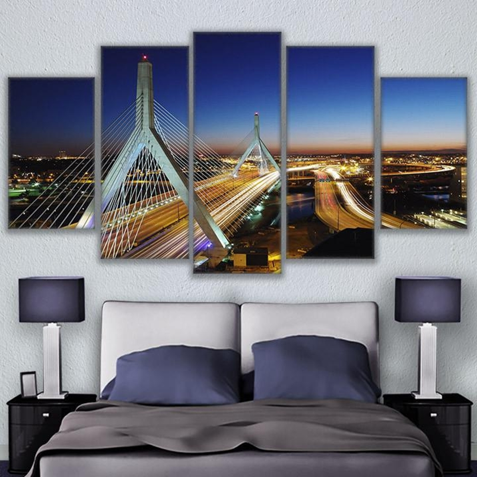 Popular Modern Wall Art Canvas Hd Prints Painting Frame Modular Poster 5 Inside Boston Wall Art (View 13 of 20)