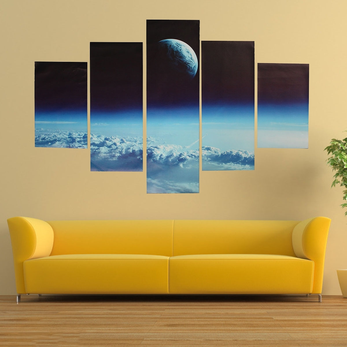 Popular Modern Wall Art With Regard To 5Pcs Canvas Print Painting Cloud Veil Outer Space Modern Wall Art (View 10 of 15)