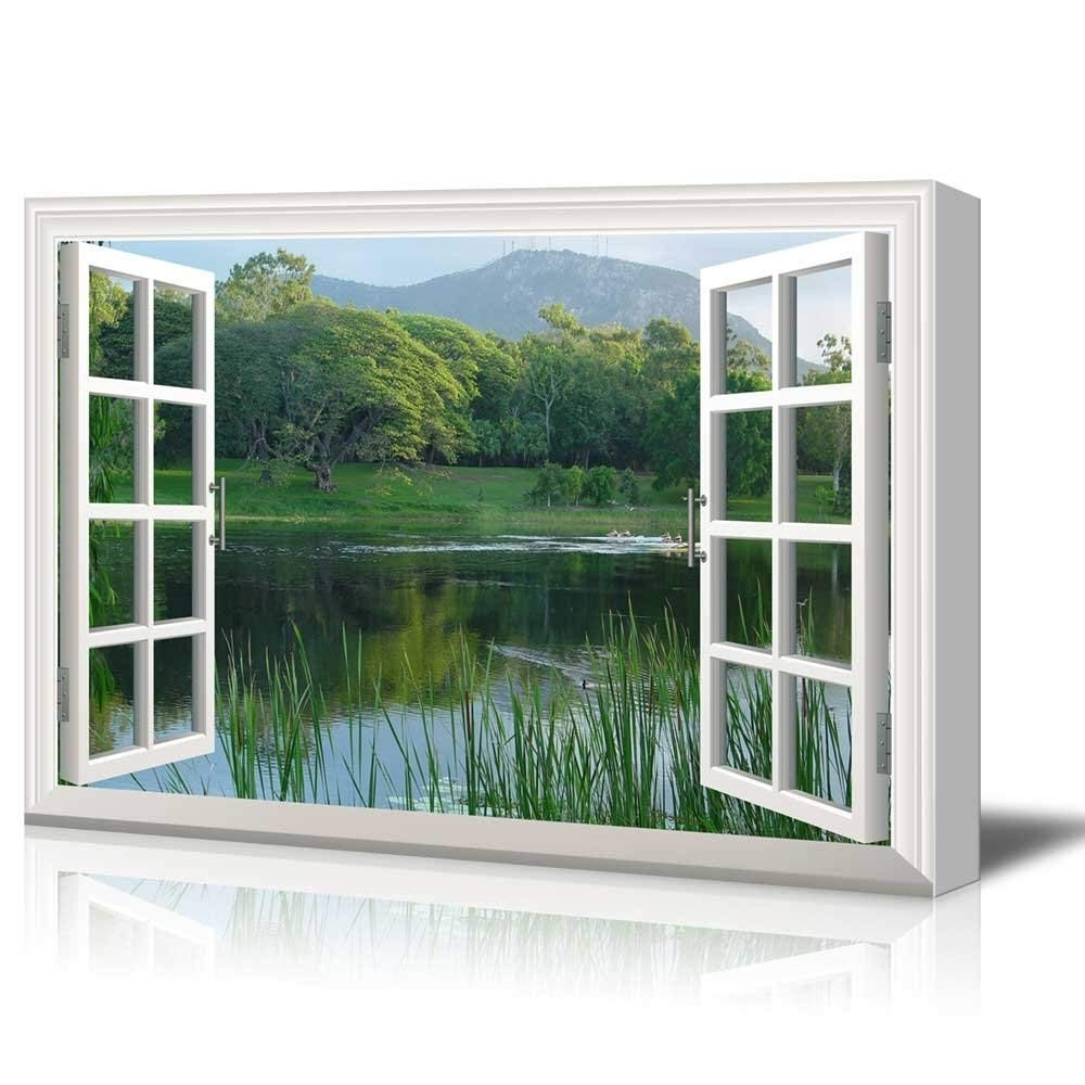 Popular Print Window Frame Style Wall Decor Clear Lake And Green Trees Within Window Frame Wall Art (View 9 of 15)