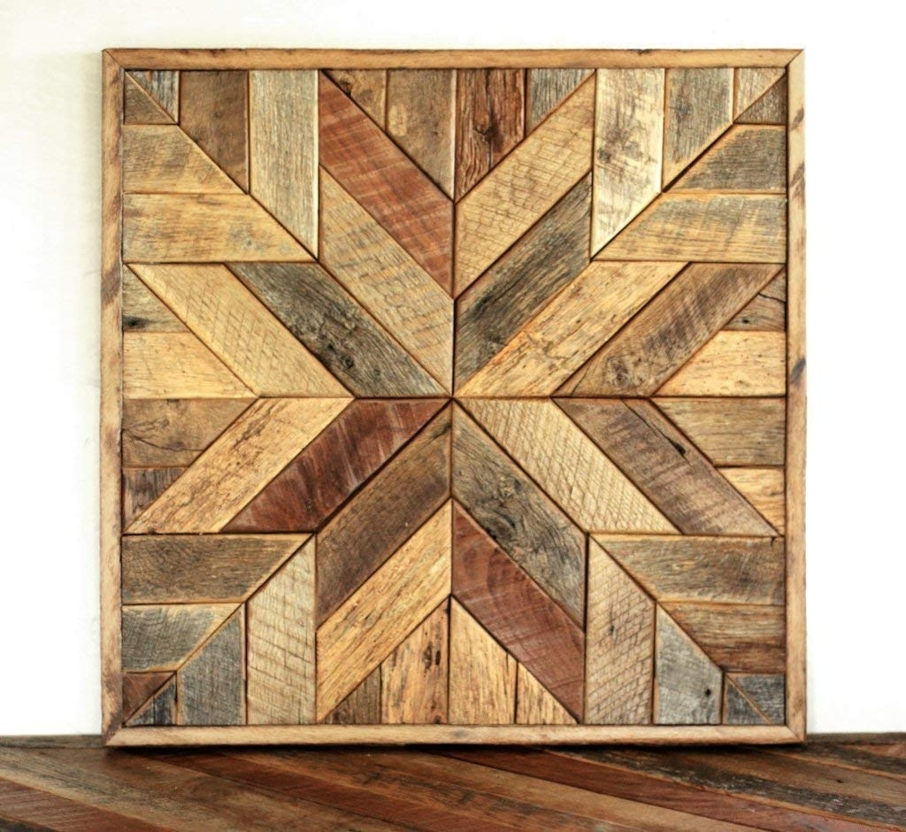 Popular Reclaimed Wood Wall Art Inside Amazon: Reclaimed Wood Star Quilt Block Wall Art – 26 Inch: Handmade (View 6 of 15)