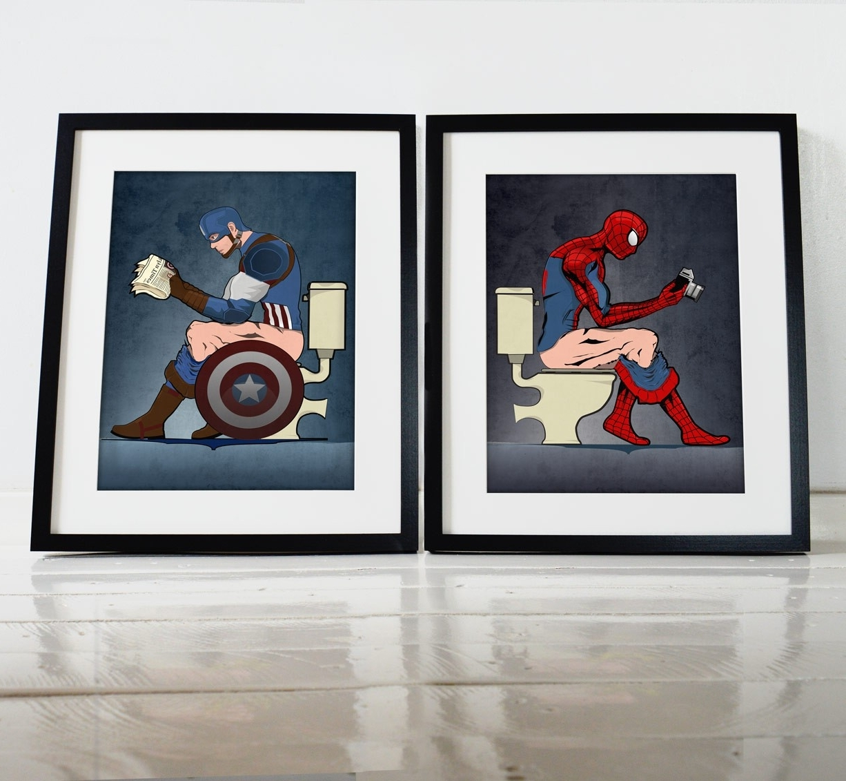 Popular Superhero Spiderman And Captain America On The Toilet Poster Wall Pertaining To Captain America Wall Art (View 5 of 15)