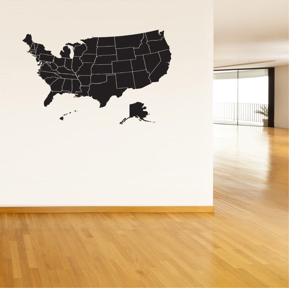 Popular Usa Map Wall Art With Usa Map Wall Sticker United States Of America Map Mural Pvc Wall Art (View 10 of 20)