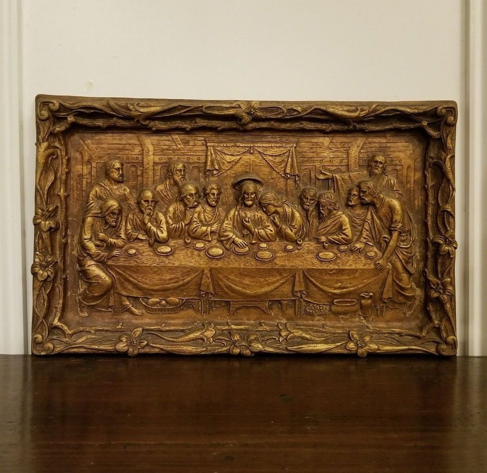 Popular Vintage The Last Supper Chalkware Wall Plaque Hanging Gold Bronze For Bronze Wall Art (Gallery 11 of 20)