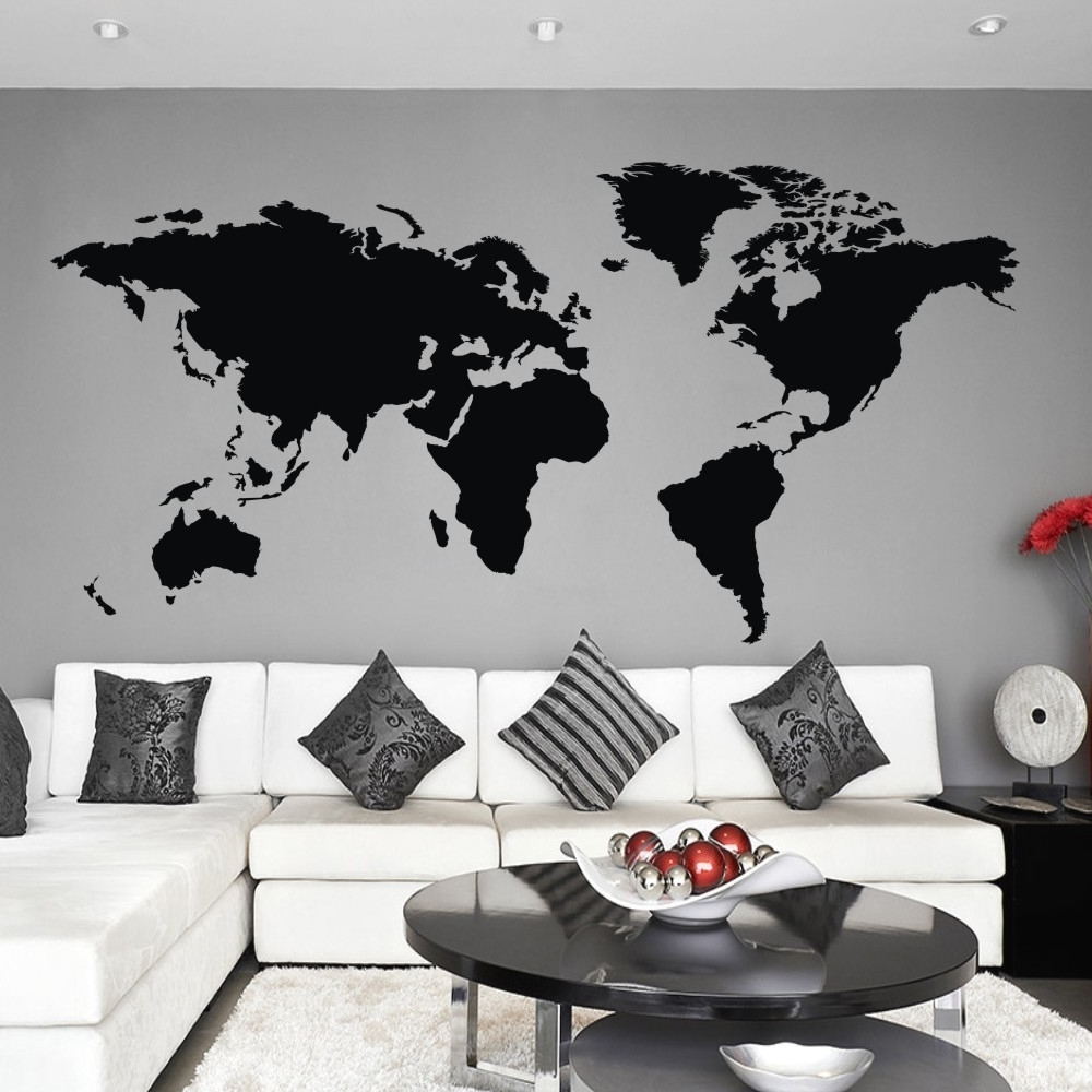 Popular Vinyl Wall Art World Map In World Map Wall Decal The Whole World Atlas Vinyl Wall Art Sticker (View 10 of 20)