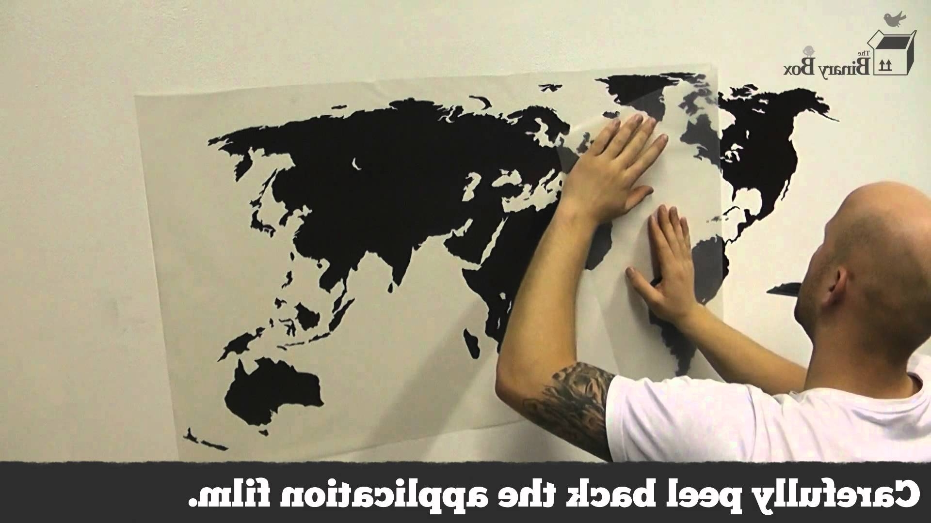 Popular Vinyl Wall Art World Map Intended For World Map Wall Sticker Application – The Binary Box – Youtube (View 11 of 20)